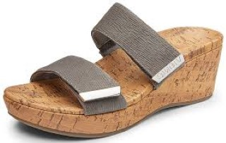 Berwick upon Tweed-Lime Shoe Co-Vionic-Wedge-Grey-Ruched-Sandal-Summer