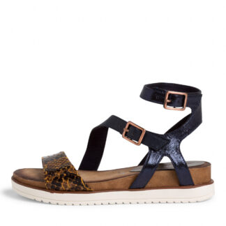 Berwick upon Tweed-Lime Shoe Co-Tamaris-Navy-Snake-Sandal-summer-wedge heel-comfort