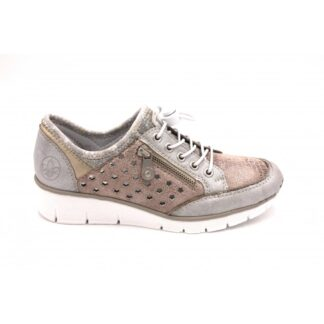 Berwick upon Tweed-Lime Shoe Co-Rieker-Trainer-metallic-laces-side zip-comfort-summer