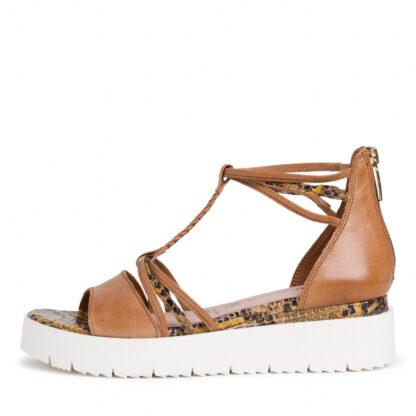 Lime Shoe Co-Berwick upon Tweed-Tamaris-summer-sandal-cognac-snake-wedge heel-comfort-back zip