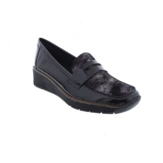 Berwick upon Tweed-Lime Shoe Co-Rieker-Black-Slip on-Shoe-Winter-patent-shimmer-comfort
