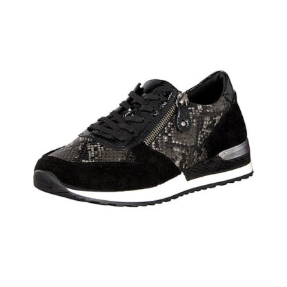 Berwick upon Tweed-Lime Shoe Co-Remonte-Black-Grey-Trainer-reptile-laces-side zip-leather