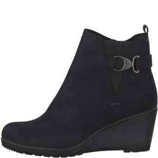Berwick upon Tweed-Lime Shoe Co-Marco Tozzi-Navy-Ankle Boot-Wedge-side zip-autumn-winter