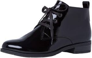 Lime Shoe Co-Berwick upon Tweed-Marco Tozzi-Black-A/W2020-Ankle Boot-Patent-Comfort-Lace Up
