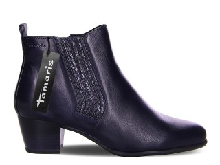 Lime Shoe Co-Berwick upon Tweed-Tamaris-Leather-Navy-Block Heel-Side Zip-Autumn-Winter-2020