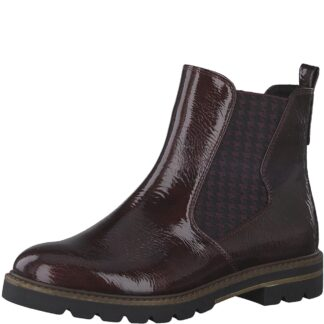 Berwick upon Tweed-Lime Shoe Co-Marco Tozzi-Bordeaux-patent-ankle boots-chelsea boots-winter-autumn