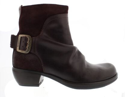 Lime Shoe Co-Berwick upon Tweed-Fly London-Mel-Wine-Buckle-Block Heel-Leather-Comfort-Side Zip-A/W 2020