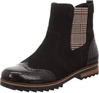 Lime Shoe Co-Berwick upon Tweed-Remonte-Chelsea Boot-Leather-Patent-A/W 2020-Wood Heel-Comfort-Pull Tab-Tartan