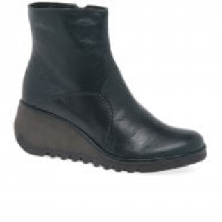 Lime Shoe Co-Berwick upon Tweed-Fly London-Nest-Black-Leather-Ladies-Wedge Heel-Side Zip