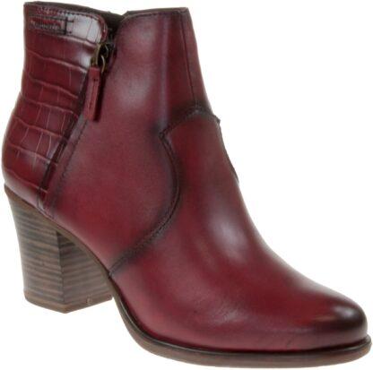 Berwick upon Tweed-Lime Shoe Co-Tamaris-Red-leather-stack heel-winter-autumn-comfort