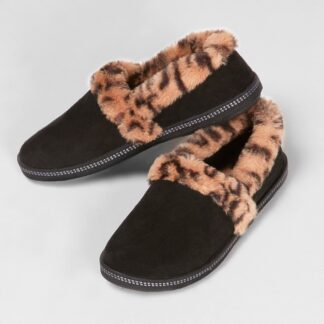 Berwick upon Tweed-Lime Shoe Co-Skechers-Black-Leopard-slippers-winter-autumn