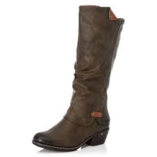 Lime Shoe Co-Berwick upon Tweed-Rieker-Green-Ladies-High Boot-Block Heel-Side Zip-Autumn-Winter-2020