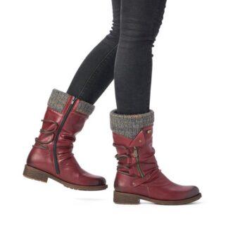Berwick upon Tweed-Lime Shoe Co-Remonte-Red-Wine-Tex-Water resistant-Mid Boot-Side Zip-Winter-Autumn