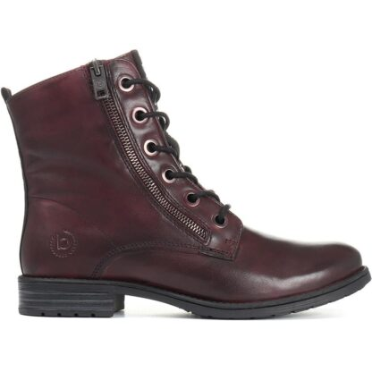 Berwick upon Tweed-Lime Shoe Co-Bugatti-Leather-Boots-Bordo-Red-Laces-Side Zip-Winter-Autumn-Comfort