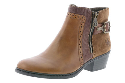 Lime Shoe Co-Berwick upon Tweed-Rieker-Autumn-Winter-2020-Side Zip-Brown-Ankle Boot-Block Heel
