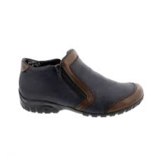 Lime Shoe Co-Berwick upon Tweed-Rieker-Ladies-Blue-Teak-Ankle Boot-Side Zip-Autumn-Winter-Flat-Fleece Lined