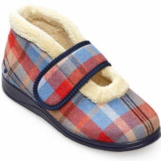 Berwick upon Tweed-Lime Shoe Co-Padders-slippers-tartan-ladies-velcro