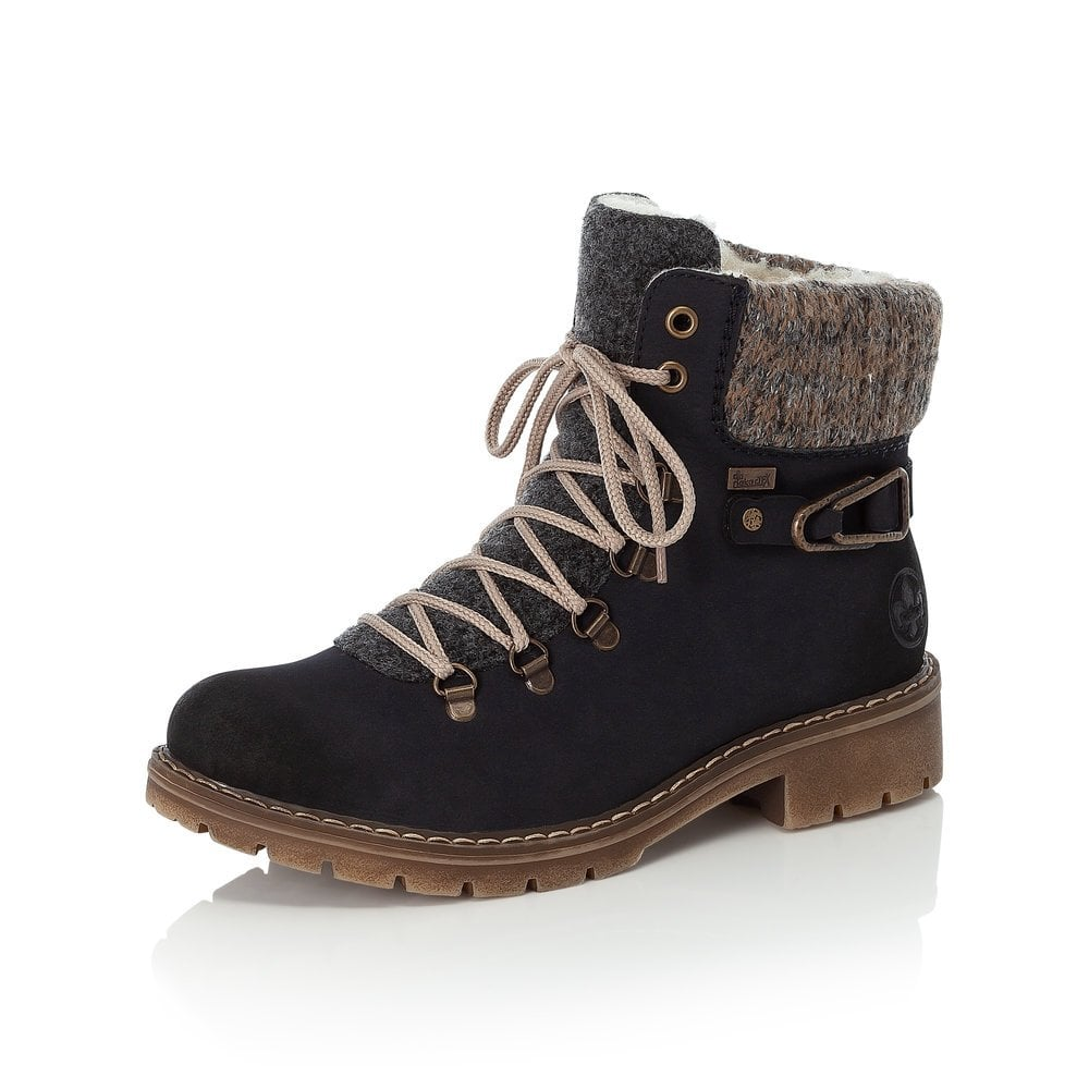 Rieker Ladies Navy Blue Ankle Boots