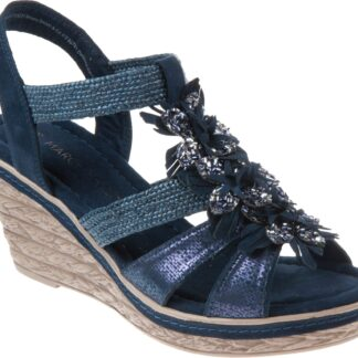 Berwick upon Tweed-Lime Shoe Co-Marco Tozzi-Navy-Wedge-sandal-summer-comfort-28302