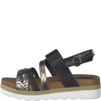 Berwick upon Tweed-Lime Shoe co-Marco Tozzi--summer-sandal-black-silver-buckle-comfort-28440