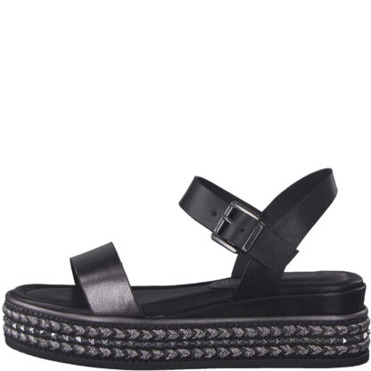 Berwick upon Tweed-Lime Shoe Co-Marco Tozzi-Black-leather-platform-comfort-sandal-28702