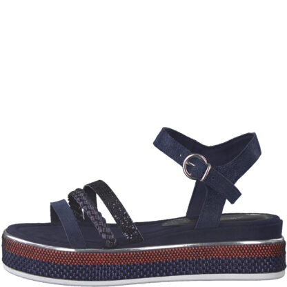 Berwick upon Tweed-Lime Shoe Co-Marco Tozzi-Navy-summer-sandal-comfort-leather-platform-28735