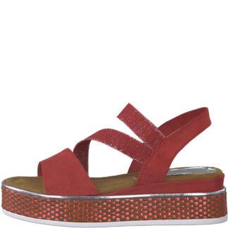 Berwick upon Tweed-Lime Shoe Co-Marco Tozzi-Red-Platform-Sandal-comfort-28740