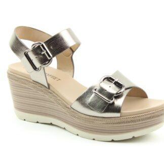 Lime Shoe Co-Berwick upon Tweed-Heavenly Feet-Juniper-Pewter-Wedge-Sandal-Comfort-Vegan Friendly