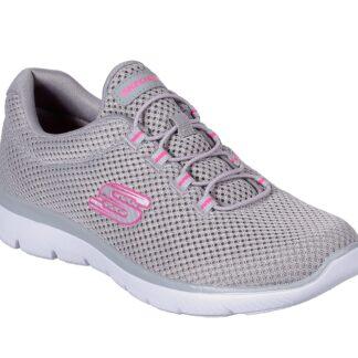 Berwick upon Tweed-Lime Shoe Co-Skechers-Grey-Ladies-bungee laces-lightweight-trainers-12985