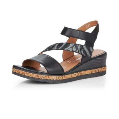 Berwick upon Tweed-Lime Shoe Co-Remonte-Black-Wedge-Sandal-Velcro-comfort-summer-D3054