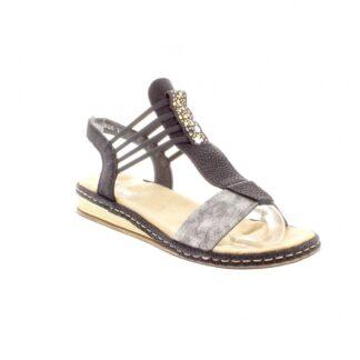 Berwick upon Tweed-Lime Shoe Co-rieker-679l1-90-ladies-black-combination-sandals