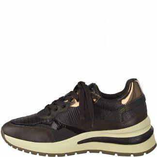 Lime Shoe Co-Berwick upon Tweed-Tamaris-Autumn-Winter-2021-Trainer-Mahogany-Comfort-Lace Up-Flat