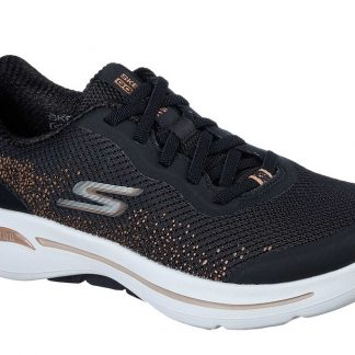Berwick upon Tweed-Lime Shoe Co-Skechers-Arch Fit-Ladies-Black-gold-comfort-trainer-124486
