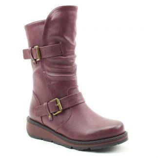 Lime Shoe Co-Berwick upon Tweed-Heavenly Feet-Autumn-Winter-2021-Mid Calf Boot-Berry-Side Zip-Comfort-Buckle