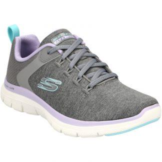 Berwick upon Tweed-Lime Shoe Co-Skechers-trainer-ladies-grey-lavender-laces-