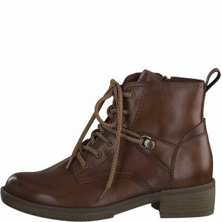 Lime Shoe Co-Berwick upon Tweed-Tamaris-25116-Cognac-Ladies-Brown-Ankle Boot-Autumn-Winter-2021-Lace Up-Pull Tab-Comfort