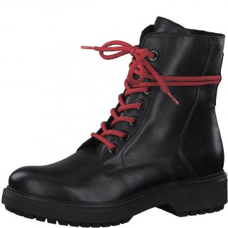 Berwick upon Tweed-Lime Shoe Co-Marco Tozzi-Black-leather-red laces-biker style-side zip-comfort-autumn-winter