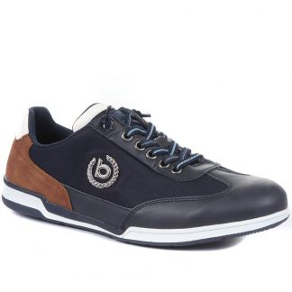 Lime Shoe Co-Berwick upon Tweed-Bugatti-Navy-Leather-Men's-Trainers-Autumn-Winter-2021-Flat-Comfort-Lace Up
