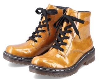 Lime Shoe Co-Berwick upon Tweed-Rieker-Ladies-Yellow-Boot-76240-Autumn-Winter-2021-Comfort-Side Zip-Flat