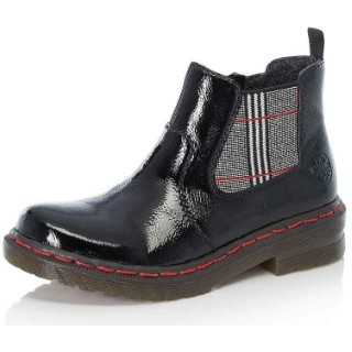 Lime Shoe Co-Berwick upon Tweed-Rieker-76264-Ladies-Boots-Black-Patent-Autumn-Winter-2021-Chelsea-Slip On