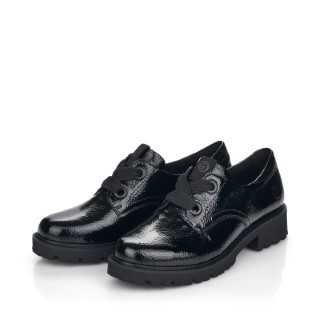 Lime Shoe Co-Berwick upon Tweed-Remonte-Ladies-Black-Patent-Leather-Shoe-D8600-Flat-Comfort-Lace Up