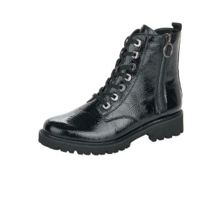 Lime Shoe Co-Berwick upon Tweed-Remonte-Black-Patent-Ankle Boot-Double Zip-Lightweight-Autumn-Winter-2021