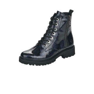 Lime Shoe Co-Berwick upon Tweed-Remonte-D8671-Blue-Patent-Ankle Boot-Double Side Zip-Flat-Comfort-Autumn-Winter-2021