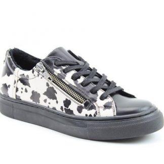 Berwick upon Tweed-Lime Shoe Co-Heavenly Feet-Genoa-Cow Print-Black-Trainer-laces-side zip