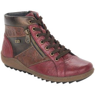 Lime Shoe Co-Berwick upon Tweed-Remonte-Ladies-Red-Leather-Ankle Boot-Flat-Comfort-Autumn-Winter-2021