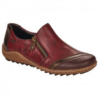 Lime Shoe Co-Berwick upon Tweed-Rieker-Red-Leather-Shoe-Autumn-Winter-2021-Side Zip-Comfort-Flat-Slip On-L7571-25