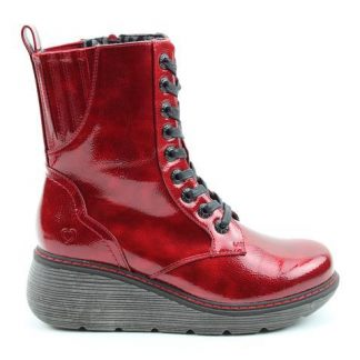 Berwick upon Tweed-Heavenly Feet-Lime Shoe Co-Ruby Red-Patent-Vegan-Ankle Boots-Wedge Heel-Laces-Zip-Winter