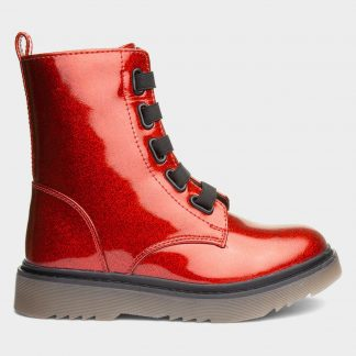 Berwick upon Tweed-Lime Shoe Co-Heavenly Feet-Rainbow-Ankle Boots-Girls-winter-side zip-red glitter