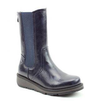 Lime Shoe Co-Berwick upon Tweed-Heavenly Feet-Trina-Navy-Reptile-Ankle Boot-Vegan-Autumn-Winter-2021-Back Zip-Comfort-Flat