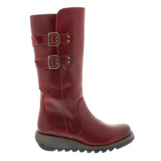 Lime Shoe Co-Berwick upon Tweed-Fly London-Suli-Red-Ladies-Leather-Tall Boot-Autumn-Winter-2021-Buckle-Side Zip-Comfort